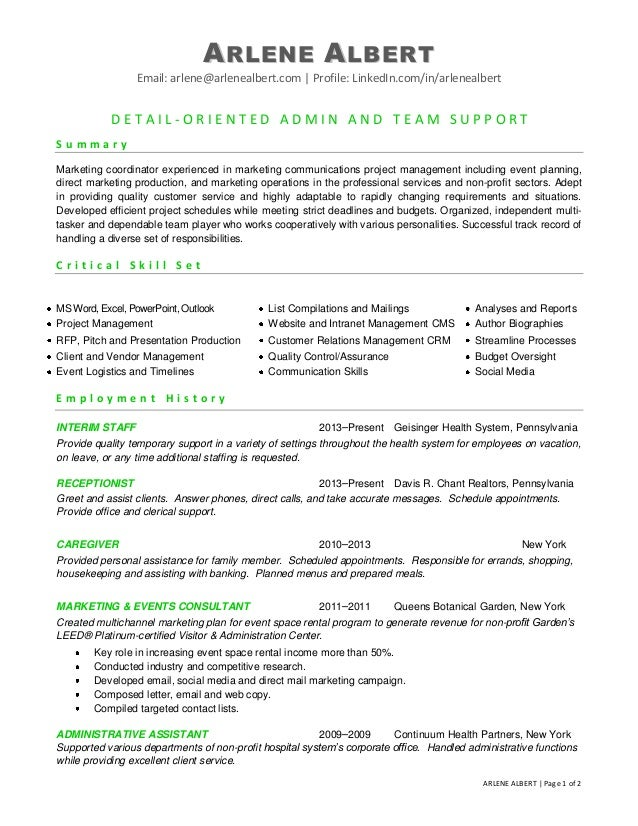 Marketing Communications Events Coordinator Resume. ARLENE ALBERT Email:  Arlene@arlenealbert.com | Profile: LinkedIn.com/ ...  Wedding Coordinator Resume