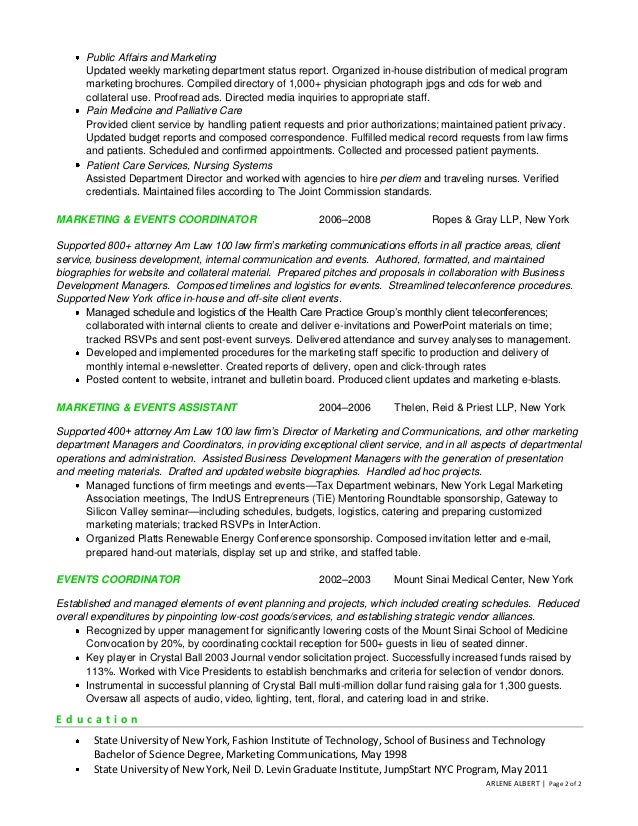 Marketing communications events coordinator resume arlene albert page 1 of 2 2 altavistaventures