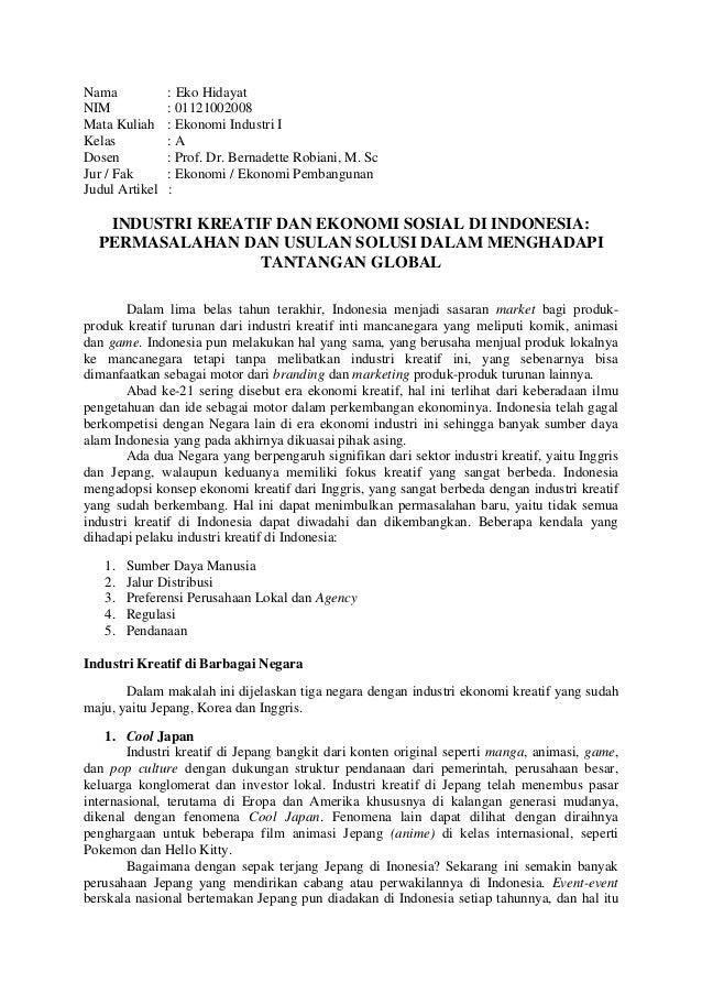 Resume Artikel Industri Kreatif Dan Ekonomi Sosial Di Indonesia Perm