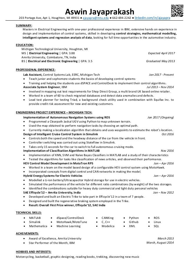 resume aswin j
