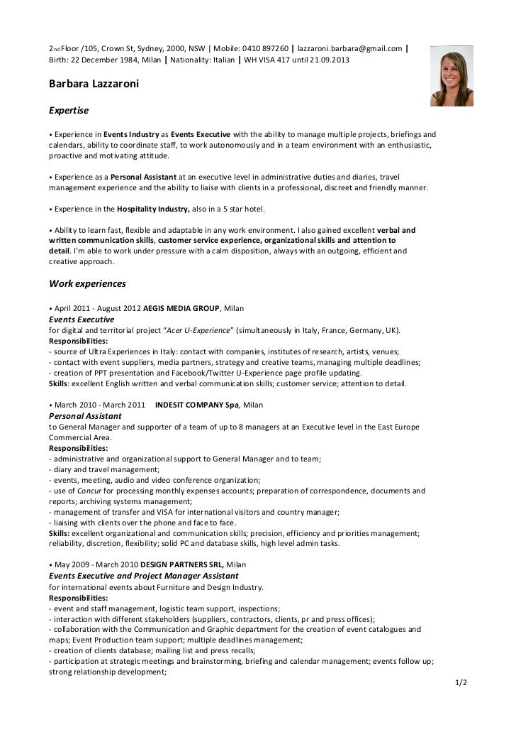 Resume Barbara Lazzaroni Events Hospitality. 2nd Floor /105, Crown St,  Sydney, 2000, NSW | Mobile: ...  Hospitality Resume