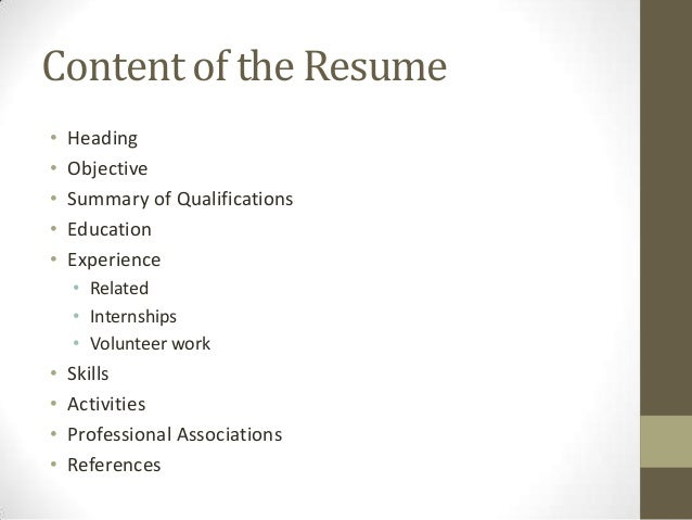 ... 13. Content Of The Resume ...  Resume Basics