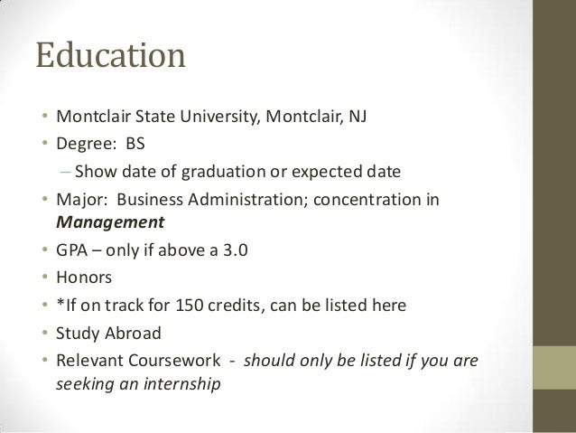 Resume Education Expected