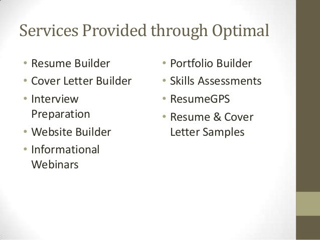... Networking Sites; 32. Services Provided Through Optimal U2022 Resume ...