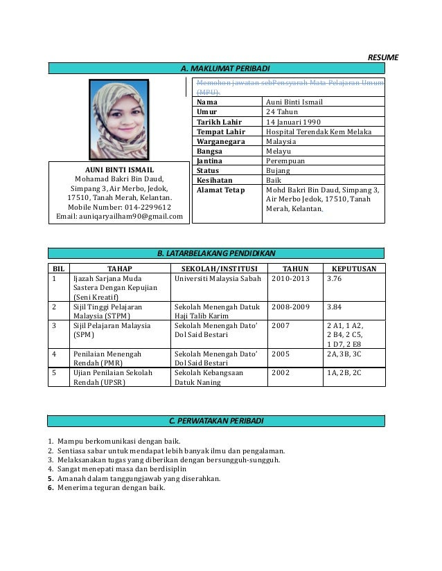 4 Contoh Curriculum Vitae Cv Dalam Bahasa Inggris Yang Menarik