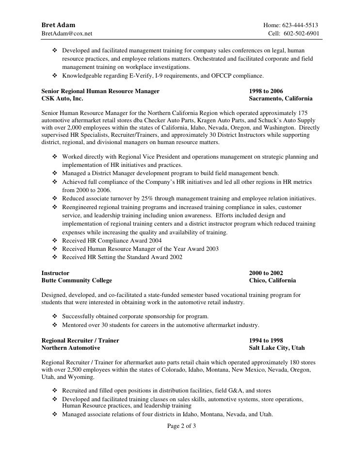 automotive parts sales resume