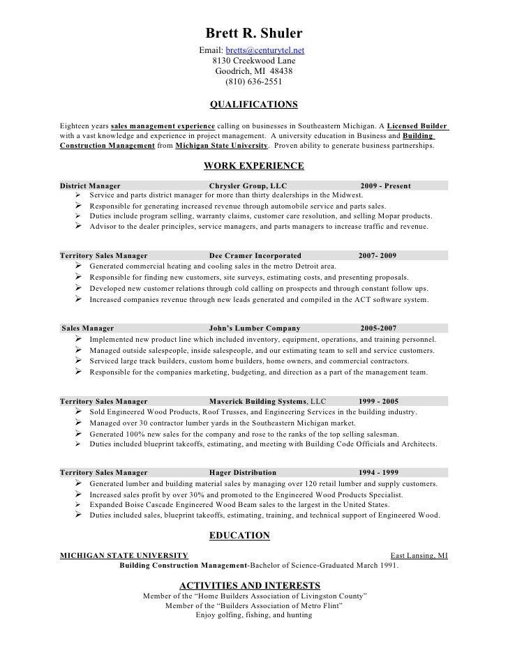 Resume for custom home builder