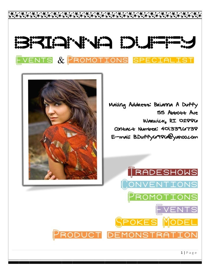 Brianna Duffy Events & Promotions specialist                   Mailing Address: Brianna A Duffy                           ...