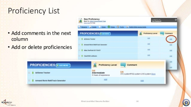 resume builder proficiency list 15 15
