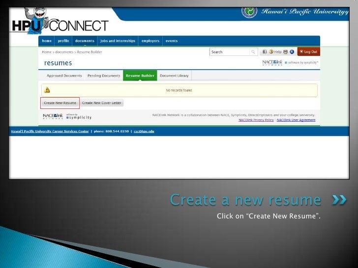 click on create new resumecreate a new resume