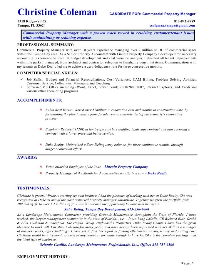 awesome property management resume residential property manager