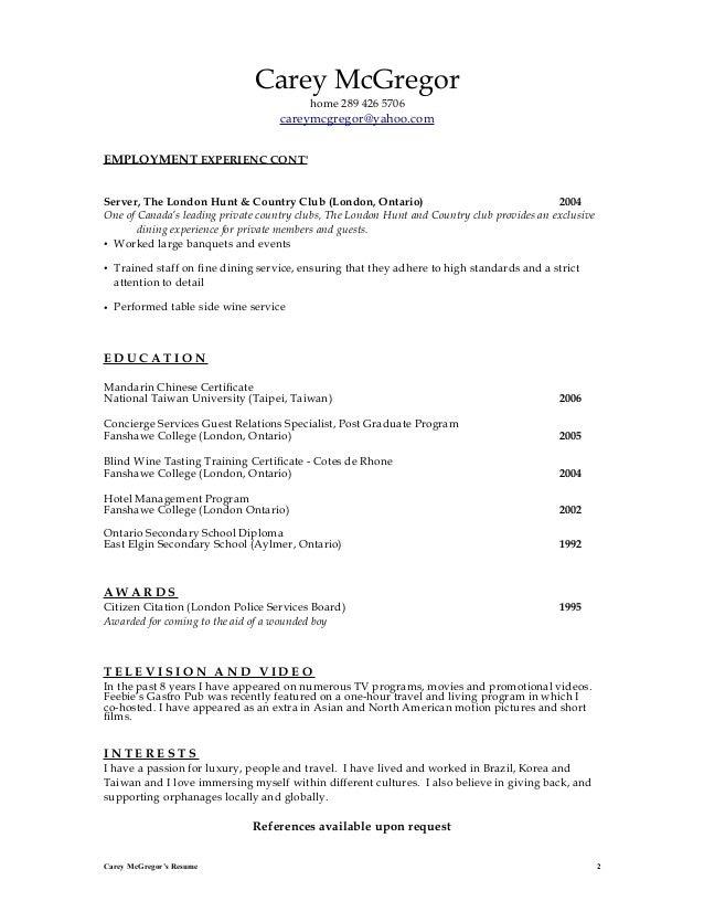 resume carey mc gregor nov 2012