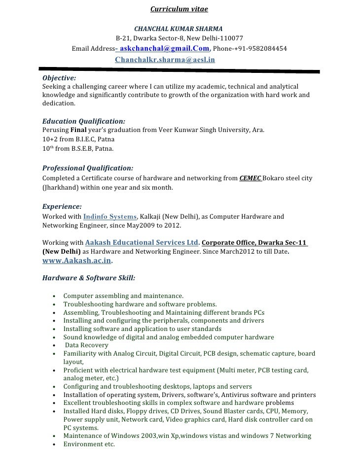Sample Resume Computer Hardware Networking Engineer Engineer Resume Format  Doc Cv For Platinum Class Limousine For