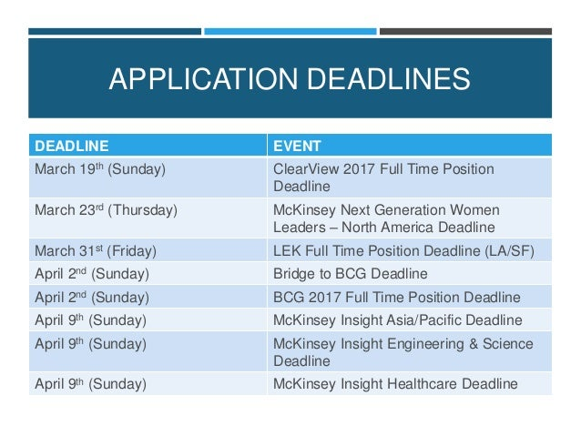 Wonderful APPLICATION DEADLINES ...