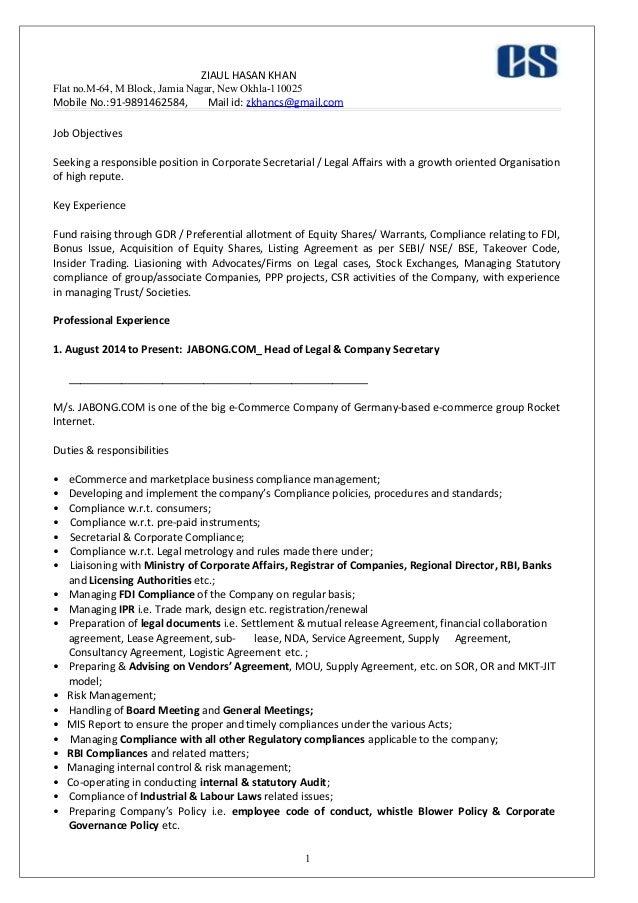curriculum vitae samples for company secretary