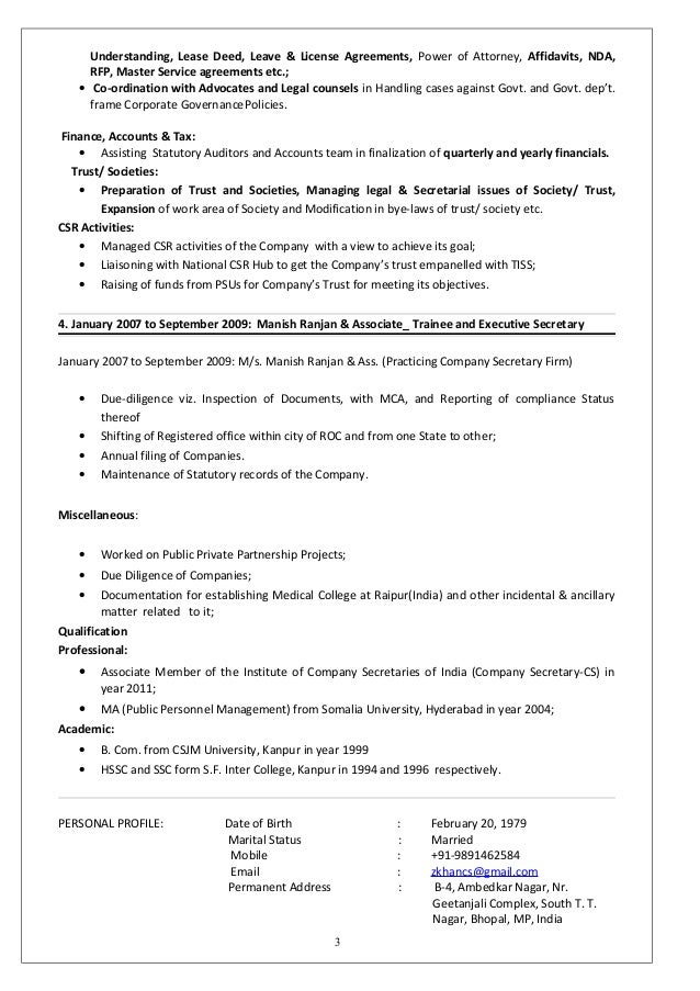 memorandum of 2 3 - Resume Company