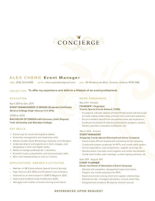ALEX CHENG Event Managertalk: (416) 300 8585 Write: Alex.xquisitely  Concierge Resume