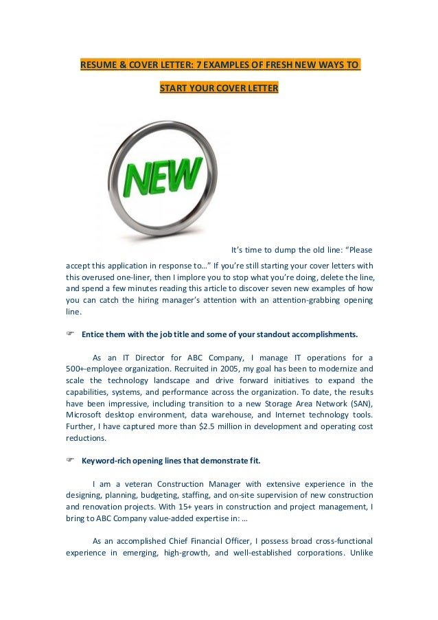 resume cover letter 7 examples of fresh new ways to start your cover letter - Your Cover Letter