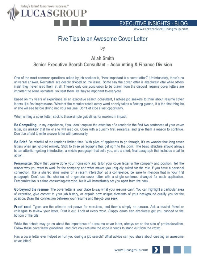 Five Tips To An Awesome Cover Letter