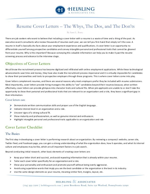Resume Cover Letters The Whys The Dos And The Don Ts