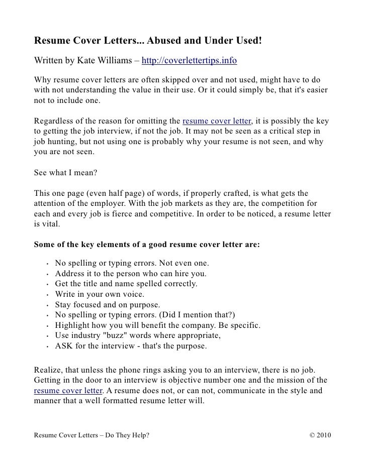 Resume Cover Letters... Abused And Under Used! Written By Kate Williams ...  Resume And Cover Letter Help