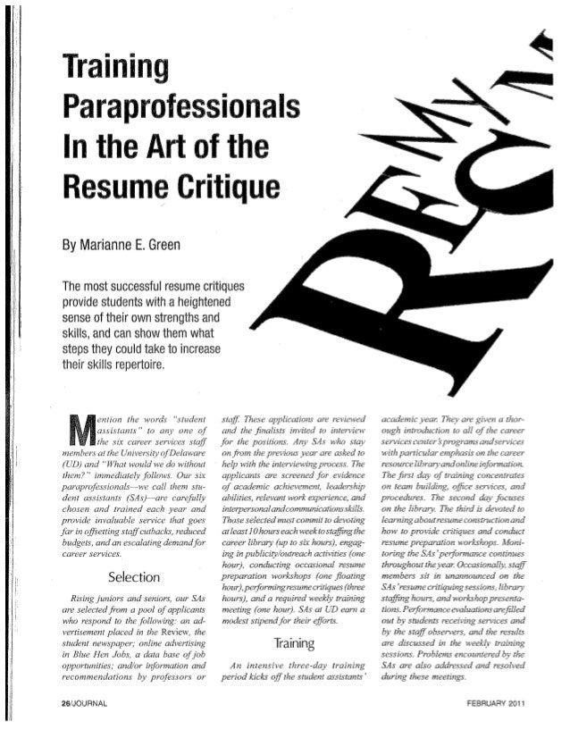 resume critique article