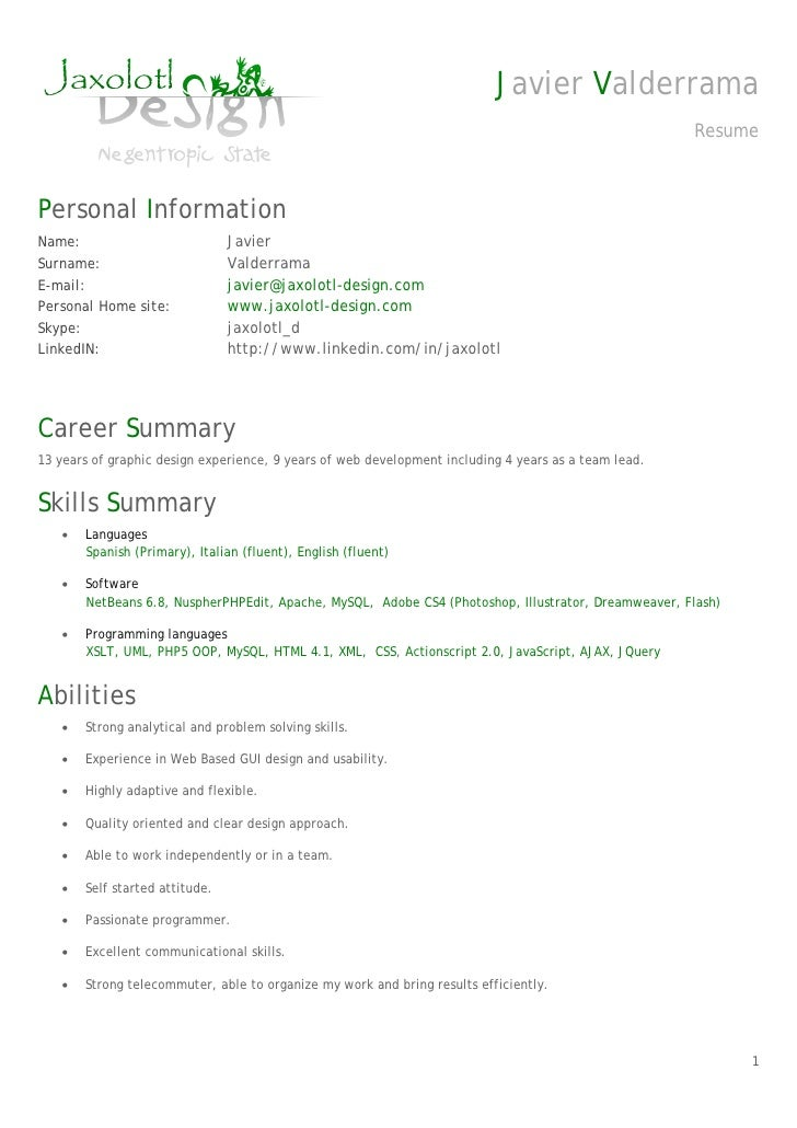 Resume (CV) Senior PHP developer Javier Valderrama. Javier Valderrama Re.