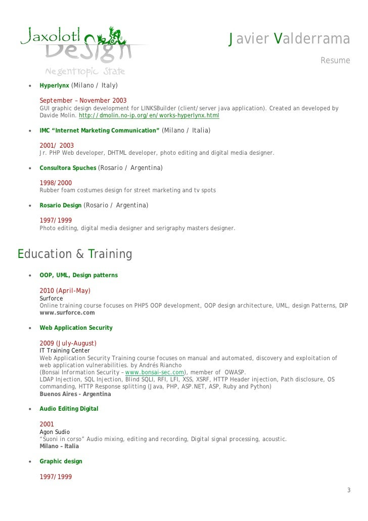 resume cv senior php developer javier valderrama