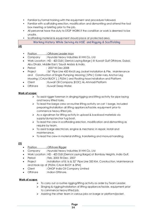 Offshore Shift Supervisor Cum Offshore Construction - Resume