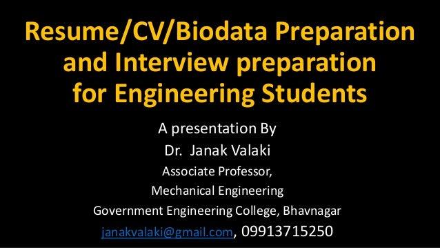 Resume Cv Biodata Preparation And Interview Preparation