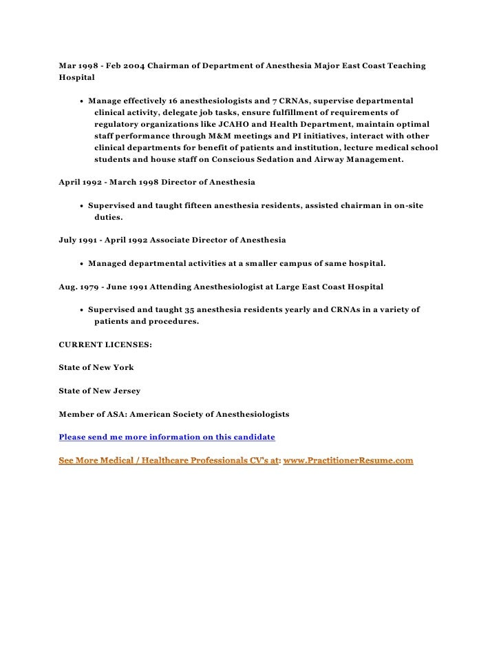 Resume CV Candidate 10001 M.D. MBA Board Certified Anesthesiologist  Physician