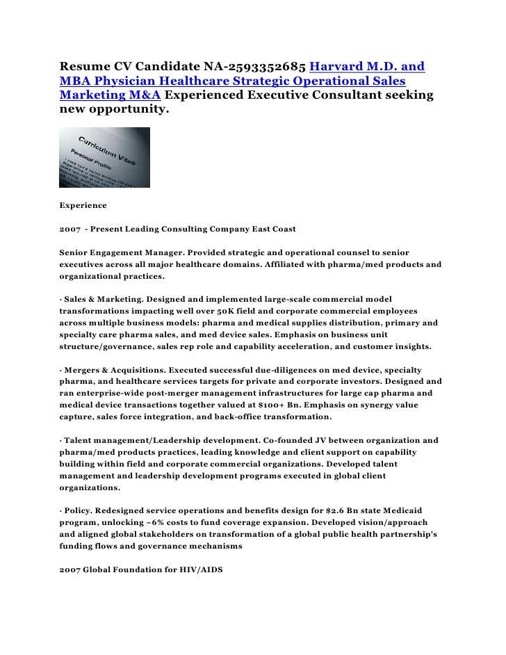 Resume CV Harvard M.D. and MBA Physician Healthcare Strategic Operati…