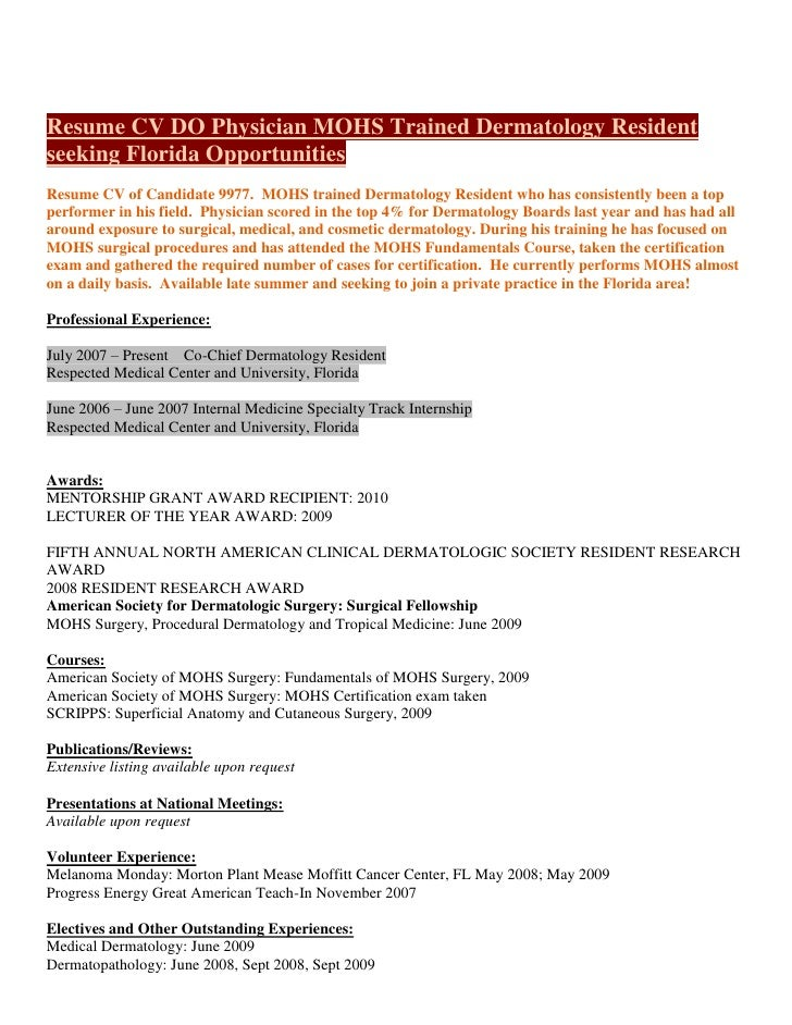 Resume CV DO Physician MOHS Trained Dermatology Resident seeking Fl