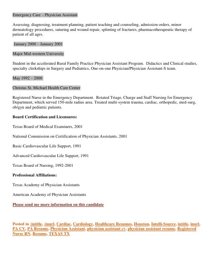 Resume CV Houston Based Physician Assistant Cardiology and ED Experie…