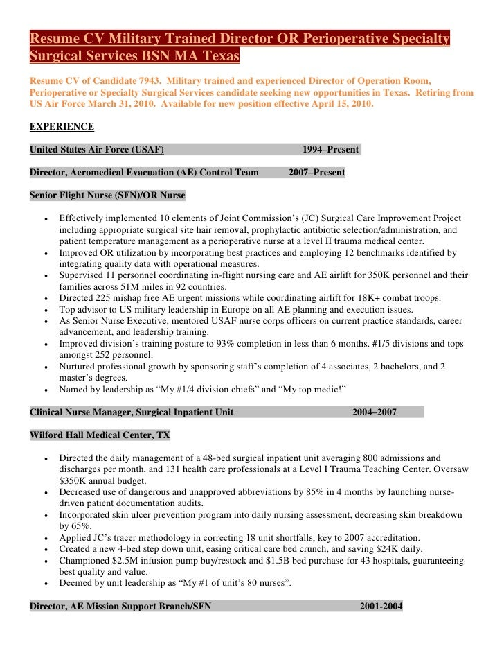 operating room nurse resume sample