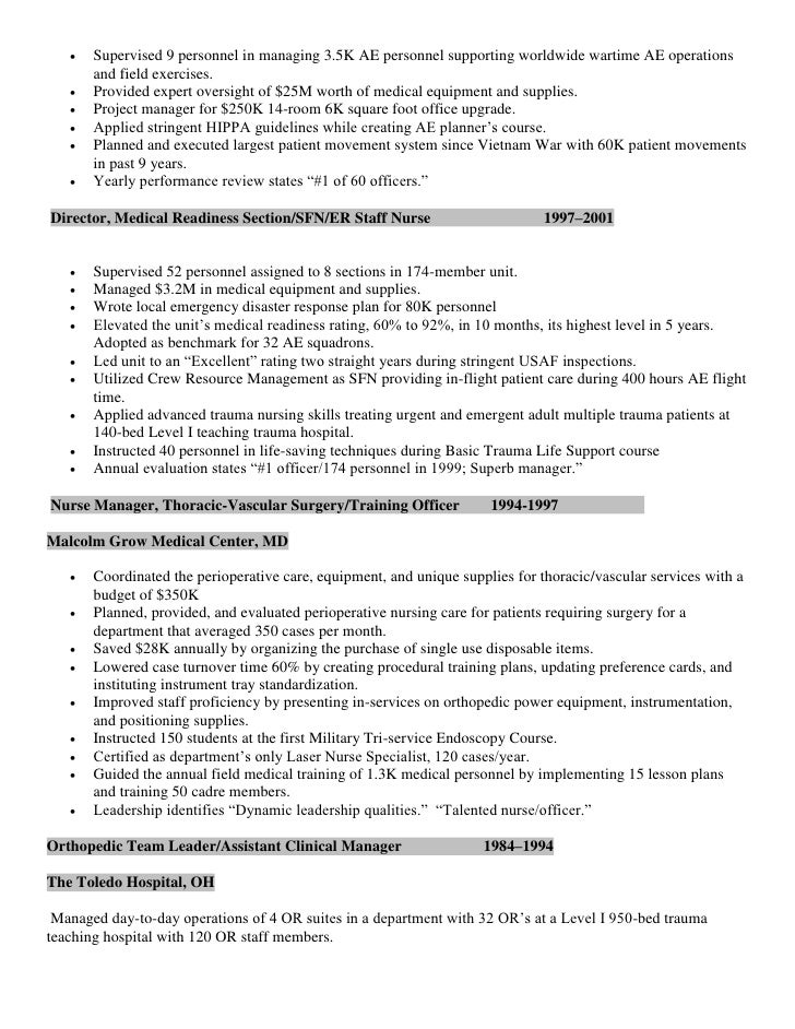 Resume CV Military Trained Director of Perioperative specialty surgic…