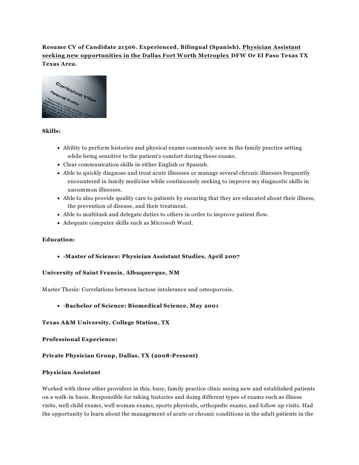 Resume Cv Of Candidate 21506 Experienced Bilingual Spanish Physi