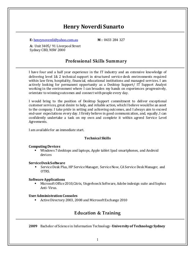 desktop support resume resume format download pdf