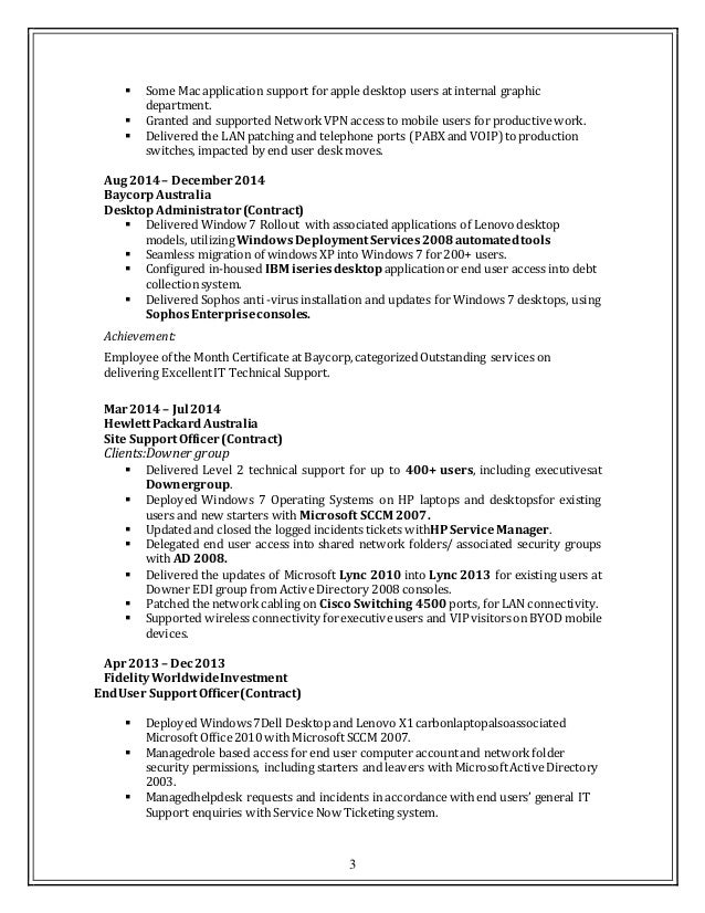 3 - It Support Resume