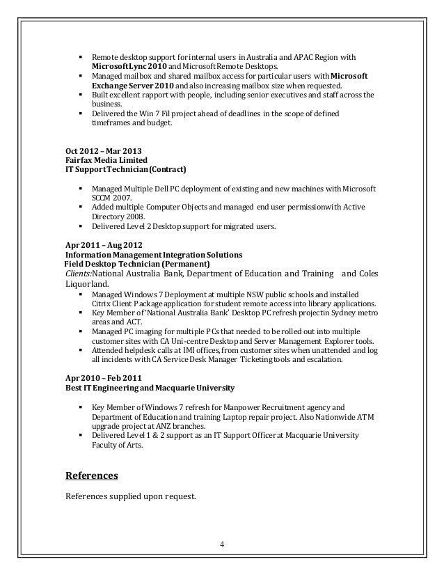 Click Here To Download This Training Engineer Resume Template Changes  Performed SANDVIK AUSTRALIA PTY LTD Melbourne  Desktop Support Resume