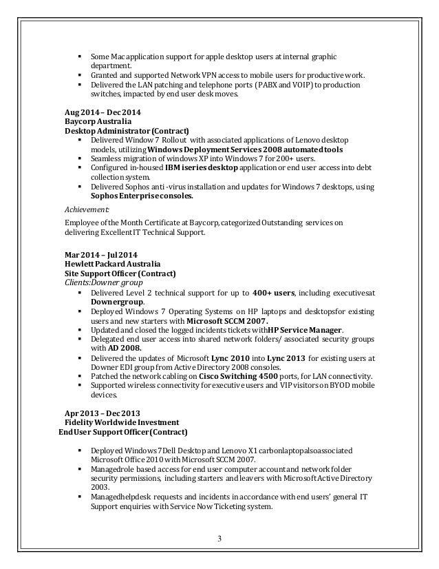 Resume Desktop Support 2016