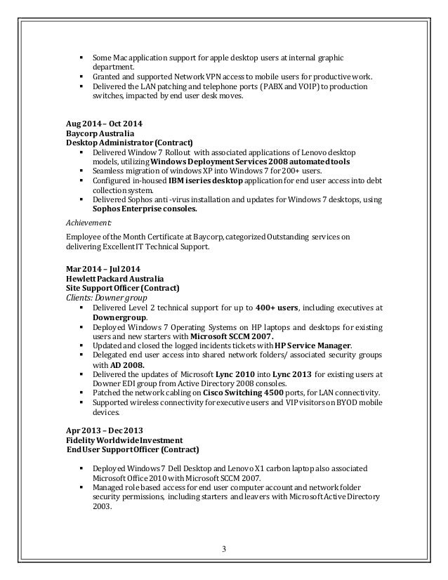 Desktop Support Resume | Cover Letter