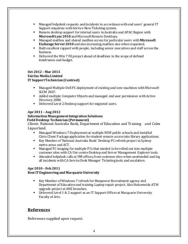 4 desktop support team lead resume - Help Desk Support Resume