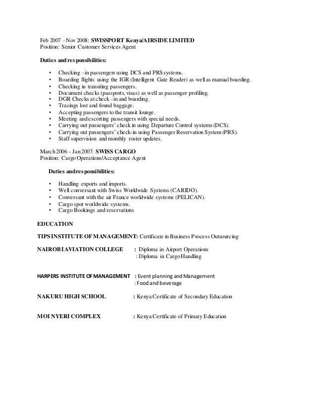 swissport curriculum vitae