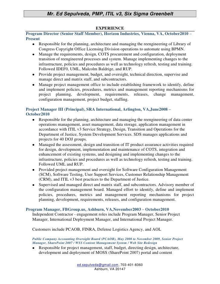 Itil Certified Resume Examples