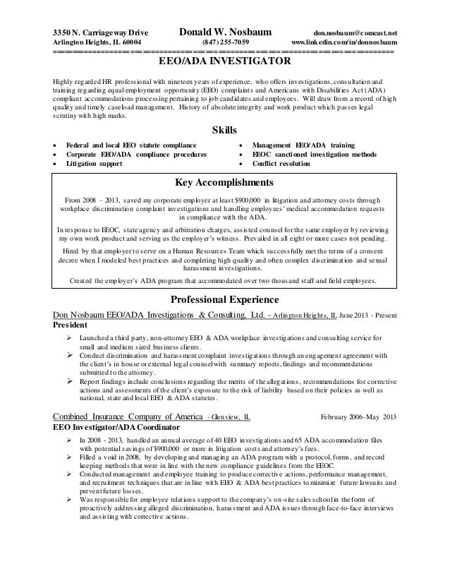 Resume Eeo Investigator Revised