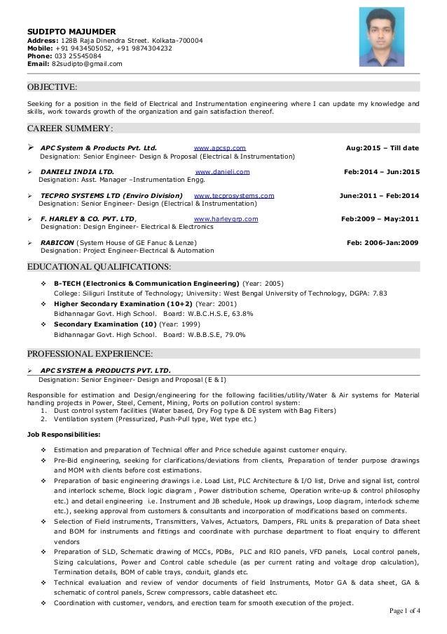 resume electrical  u0026 instrumentation engg 10  yrs exp