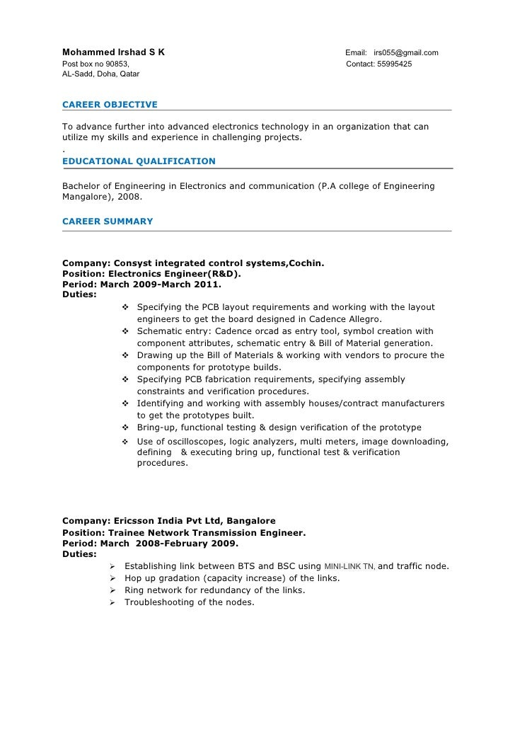 resume electronics engineer 3years experience