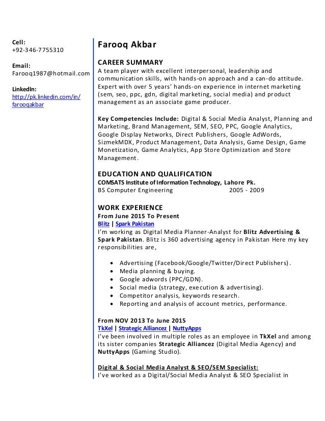 ppc specialist resume - Dorit.mercatodos.co