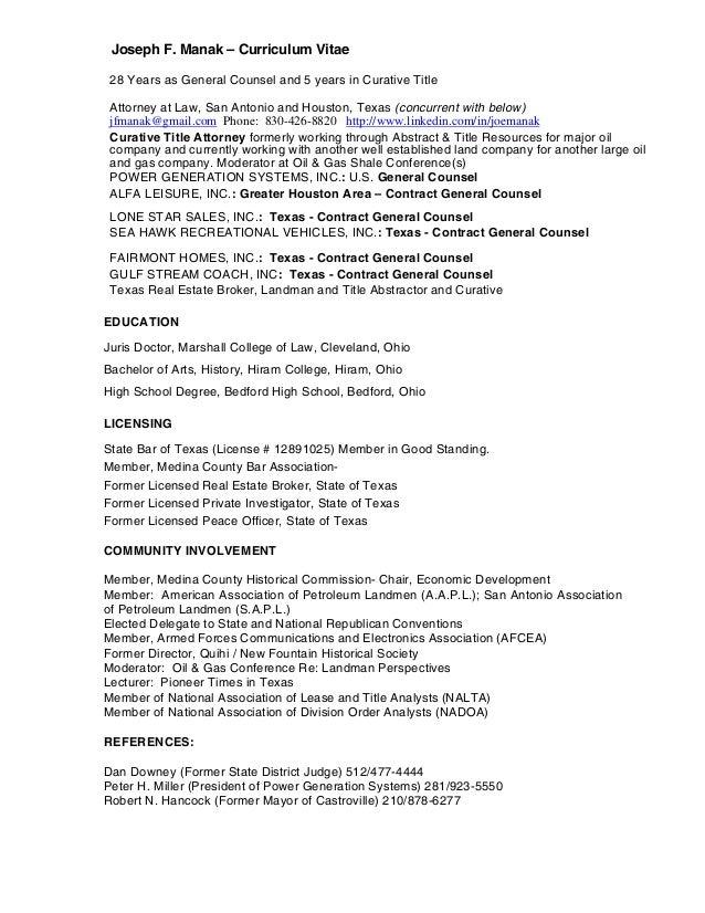 resume for joseph f  manak